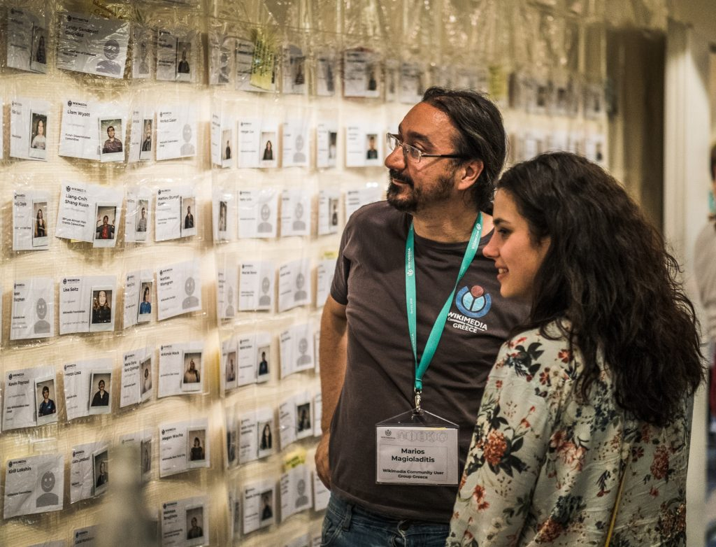 Marios Magioladitis and Natalia Szafran-Kozakowska at Wikimedia Conference 2018 in Berlin. Photo: Jason Krüger for Wikimedia Deutschland e.V. License: CC-BY-SA-4.0