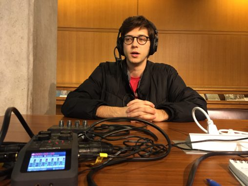 Emery Dalesio (User:Blervis) at WikiConference North America 2018 recording an episode for the podcast WikiJabber. Photo: Sebastian Wallroth. License: CC-BY 4.0