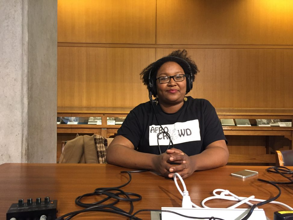 Sherry Antoine during a poscast episode recording for WikiJabber at WikiConference North America 2018 at Ohio State University in Columbus, Ohio. Photo: Sebastian Wallroth. License: CC-BY 4.0