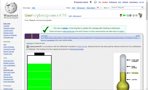Screenshot of the user page of Cyberpower678 at English language Wikipedia. Screenshot: Sebastian Wallroth. License: CC-BY 4.0 This file is (or includes) one of the official logos or designs used by the Wikimedia Foundation or by one of its projects. Use of the Wikimedia logos and trademarks is subject to the Wikimedia trademark policy and visual identity guidelines, and may require permission.